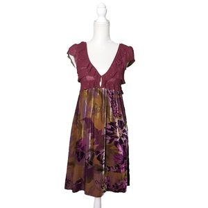 Free People Womens Mesh and Velvet Floral Dress